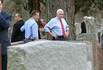 VP Pence joins cleanup effort at vandalized Jewish cemetery