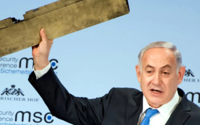PM Netanyahu Shows Piece of Wreckage of the Iranian UAV that was Shot Down by Israel on February 10