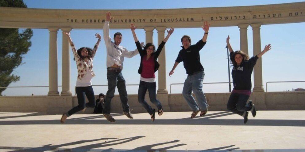 Students mid jump at Hebrew University